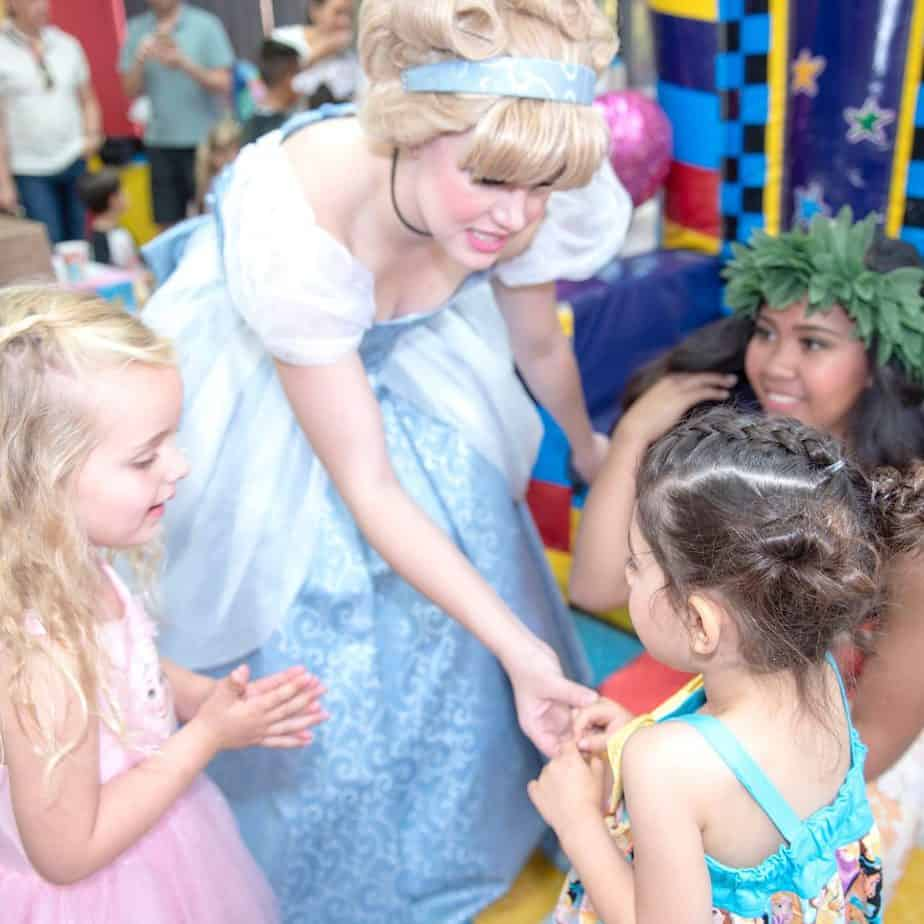 Lady dressed as Cinderella greeting my daughter at her 4th birthday party