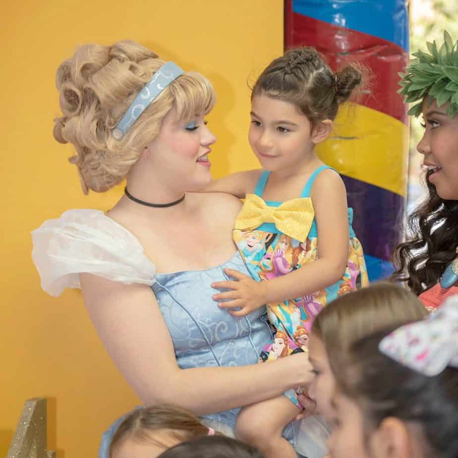 My daughter meeting Cinderella her 4th birthday party