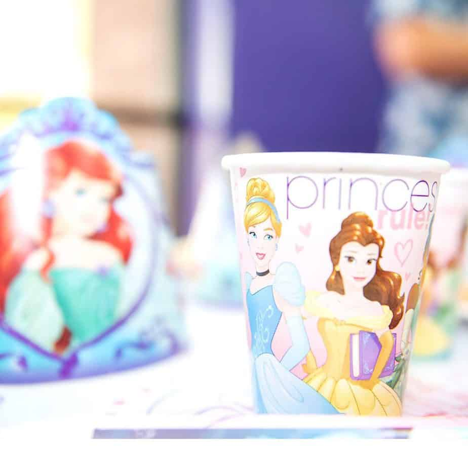 Cinderella themed party cups for kids birthday