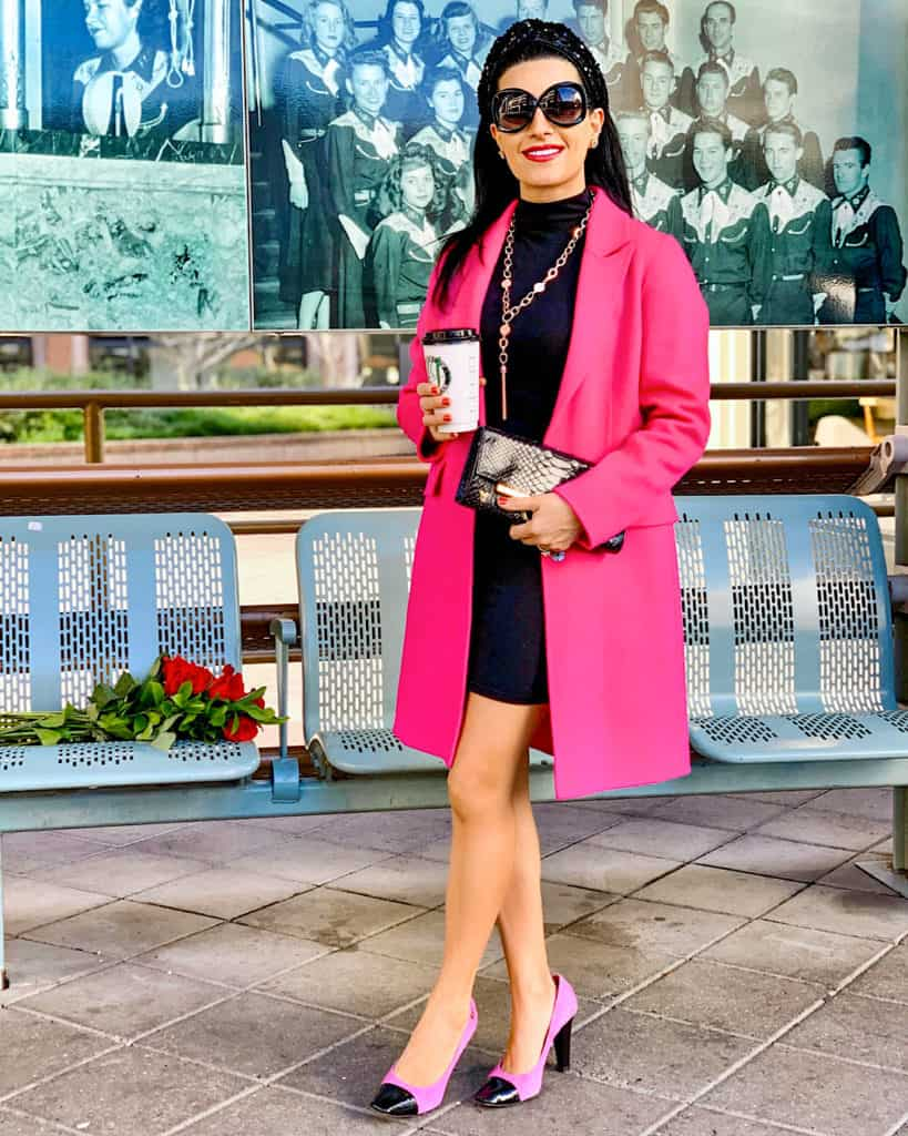 Valentine's Day outfit with pink coat pink and black heels