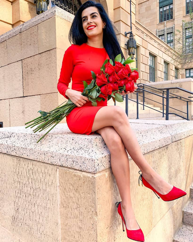 red Valentine's Day outfit red heels with red roses and red lipstick