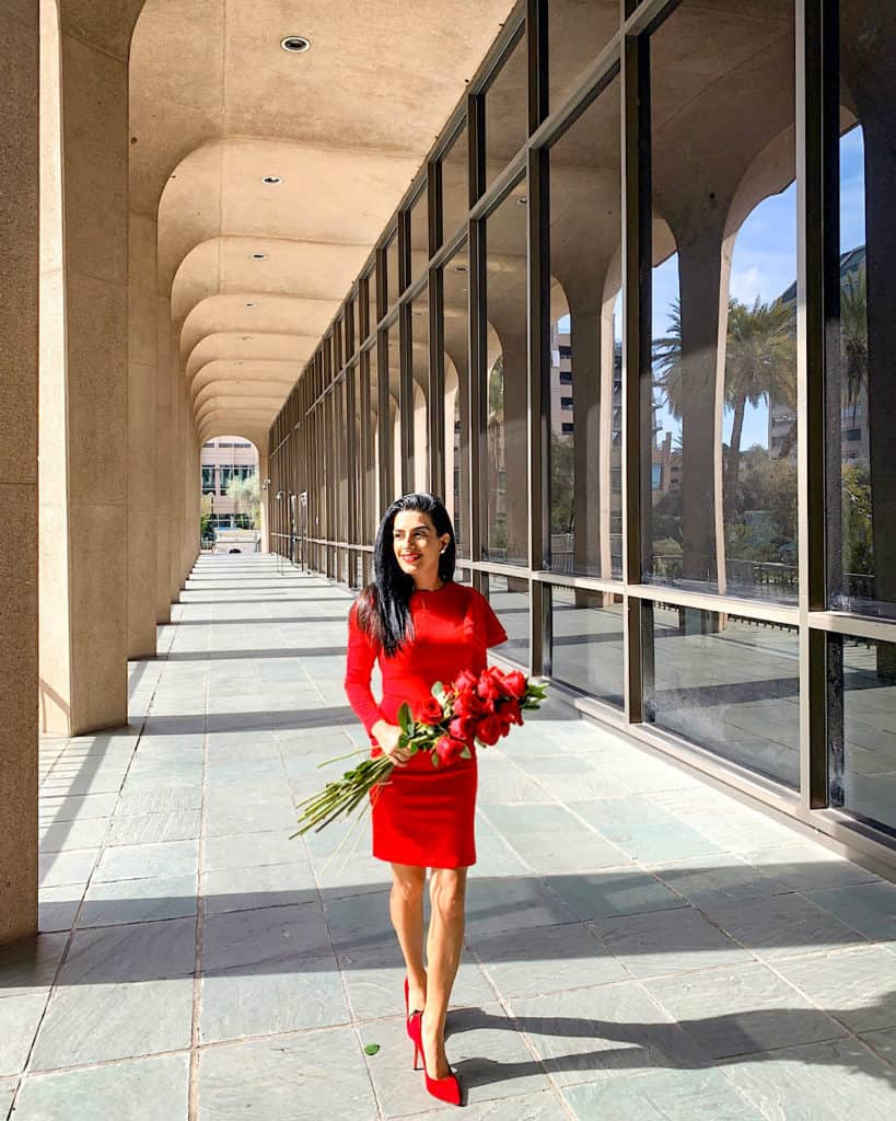 red Valentine's Day outfit red heels with red roses