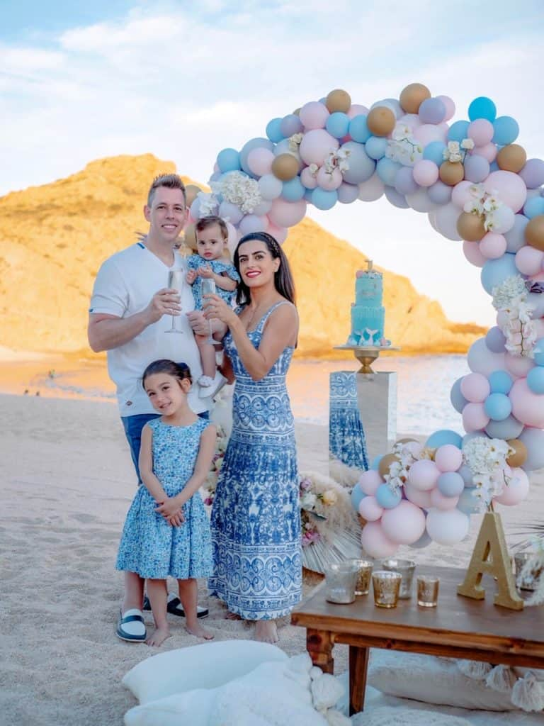Family celebrating my baby's first birthday