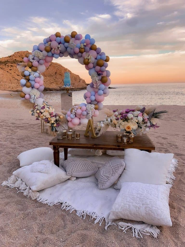 Beach party scene for planning my baby's first birthday