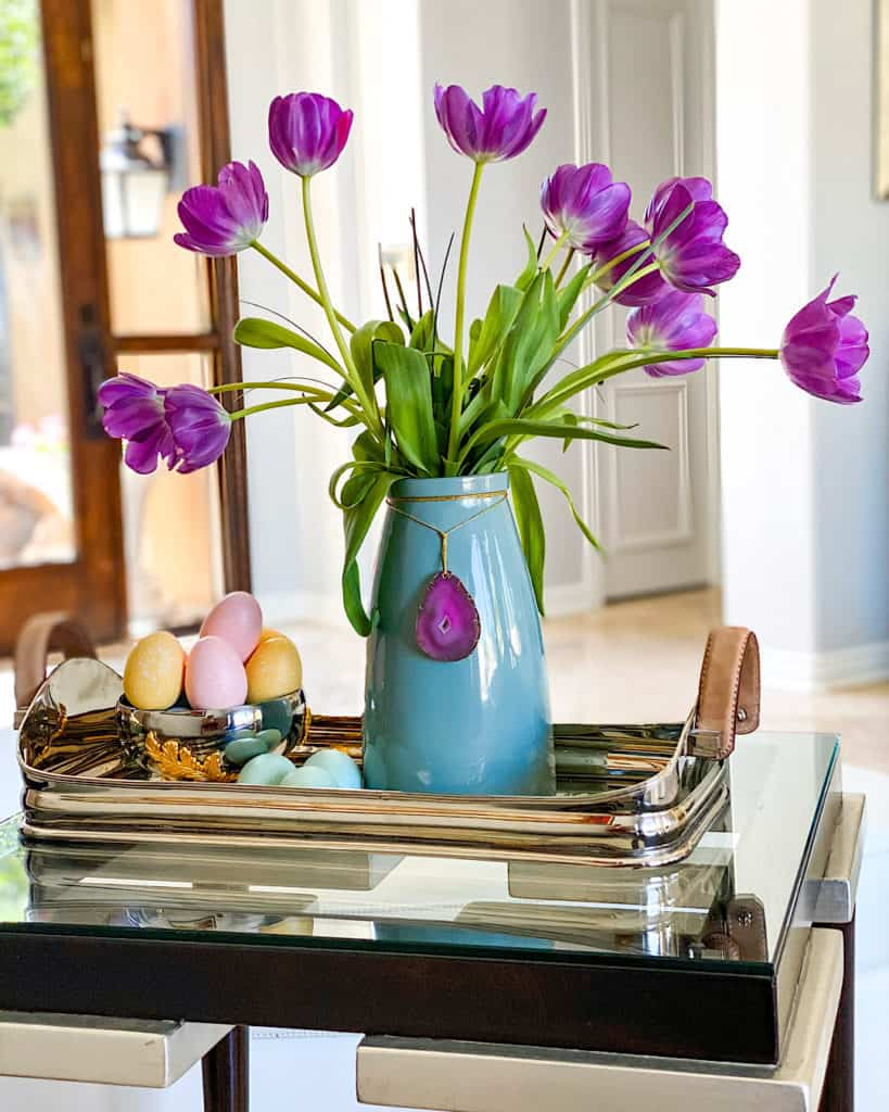 Tulips and Easter eggs - a beautiful Easter tablescape