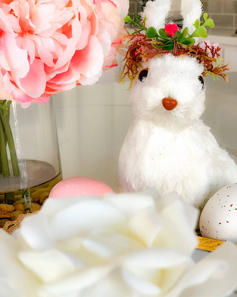 Cute Easter bunny on the table