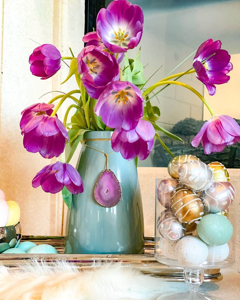 Purple Tulips and painted Easter eggs - a beautiful Easter tablescape