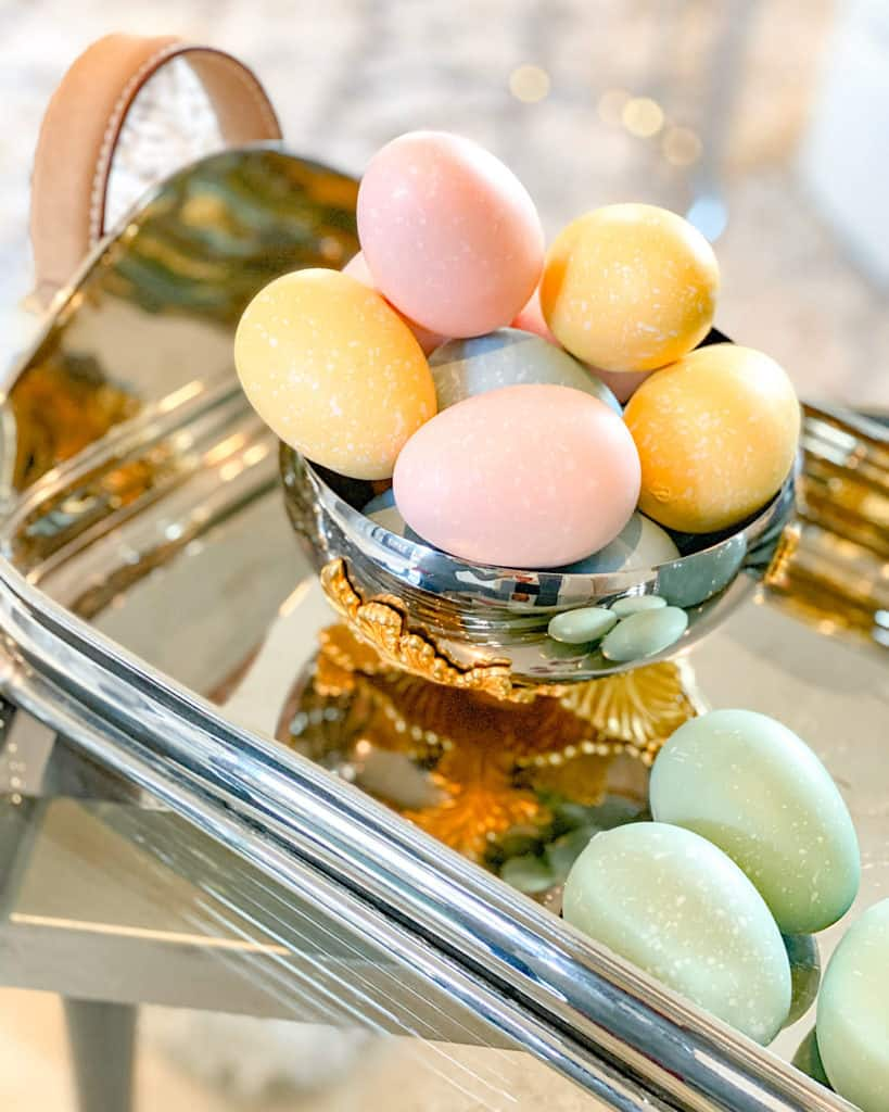 Painted Easter Eggs in a bowl on a tray