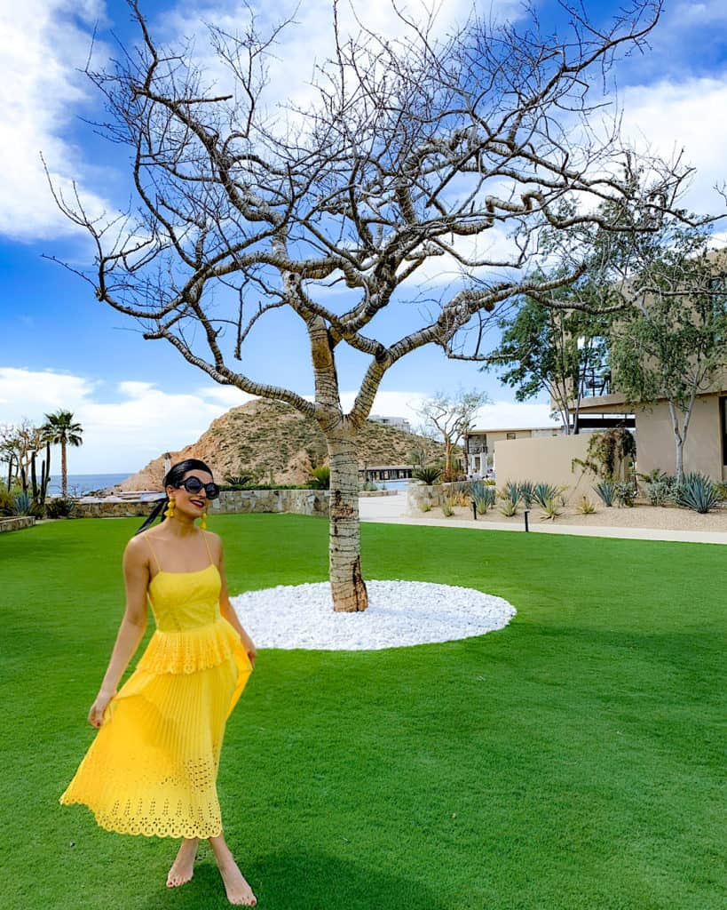 Woman in yellow dress at Montage Los Cabos, Cabo san Lucas