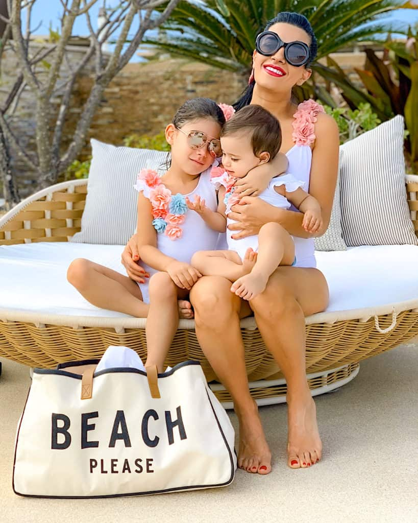 Mother and daughters by the pool at Montage Los Cabos, Cabo san Lucas