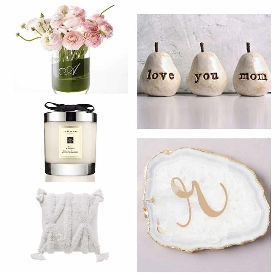Array of Mothers Day Gift Ideas: Flowers in vase, decorative vase, candle and agate coaster.