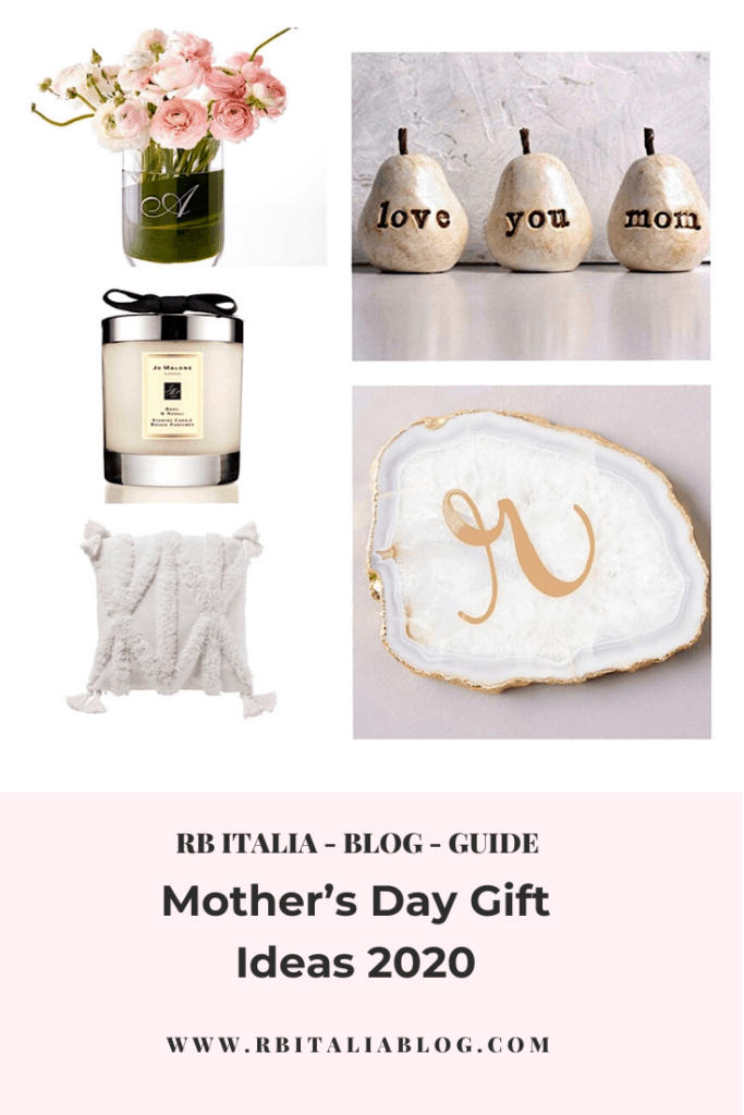 Selection of Mothers Day Gift Ideas: Flowers in vase, decorative vase, candle and agate coaster.