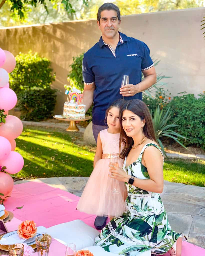 Family celebrating birthday party at home during Quarantine