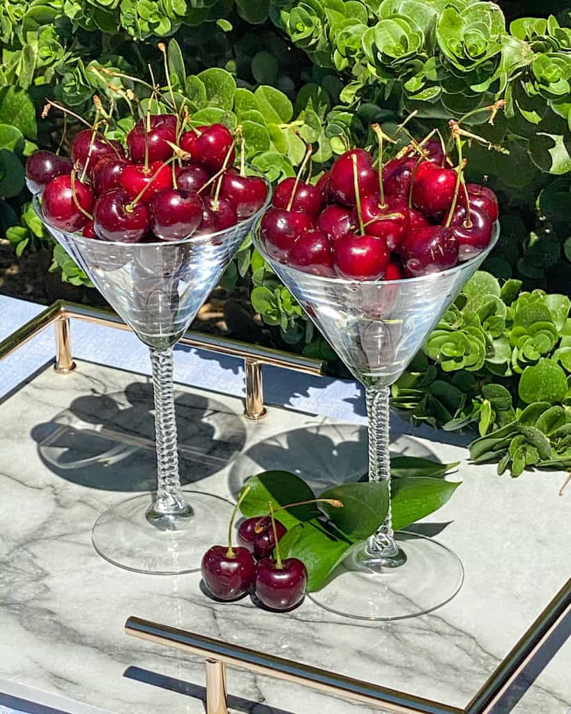 cherries in martini glasses - cherry cocktail recipes