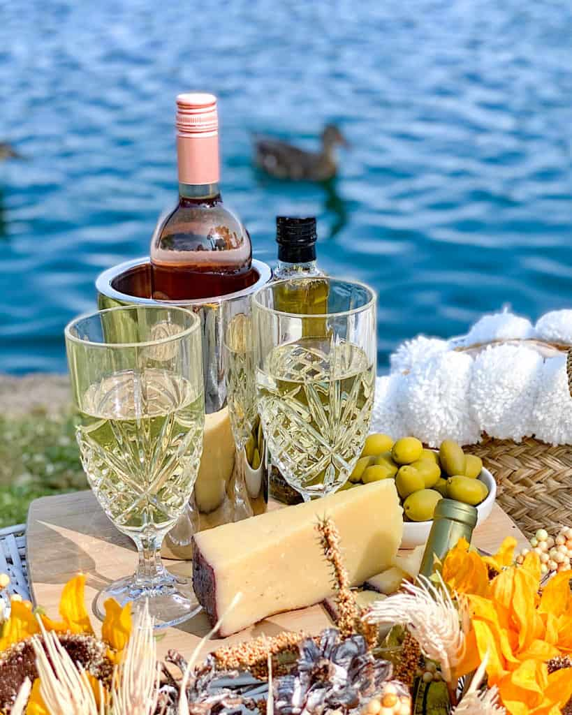 Cheese, olives and wine - the perfect picnic