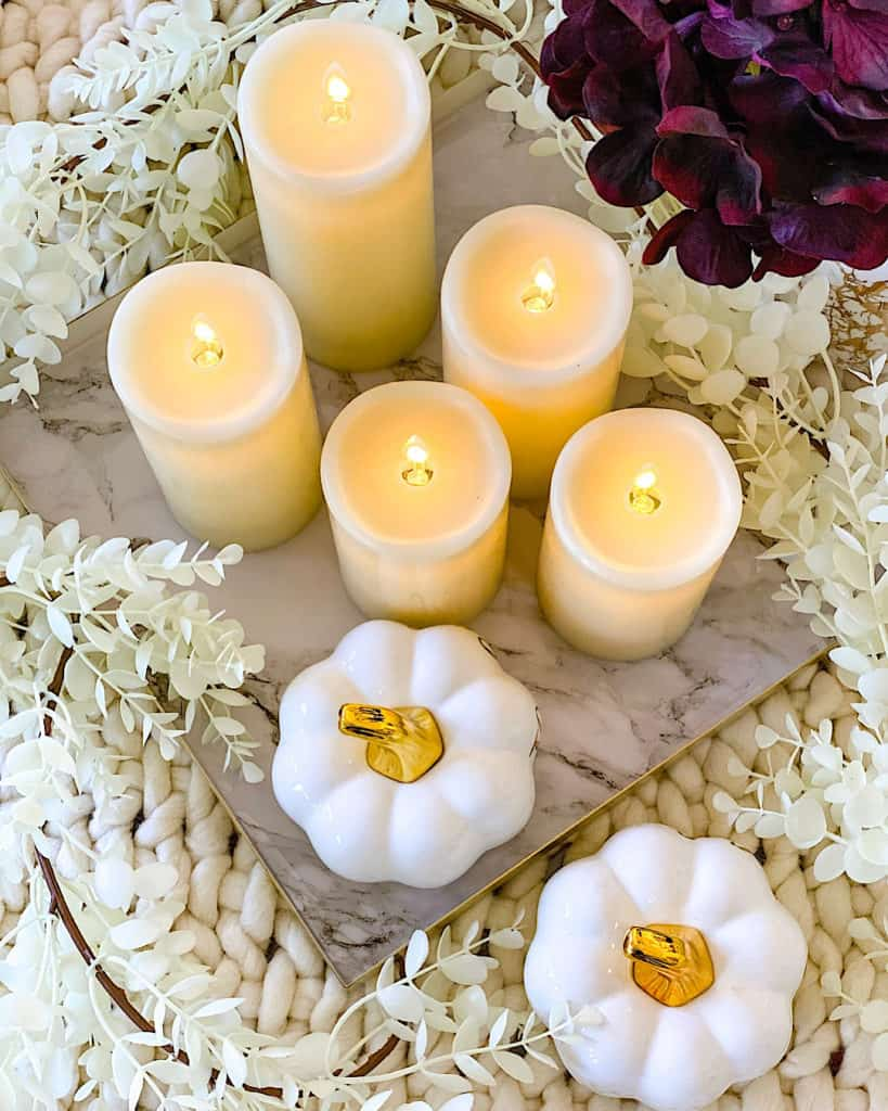Fall themed candle and flower display for your home