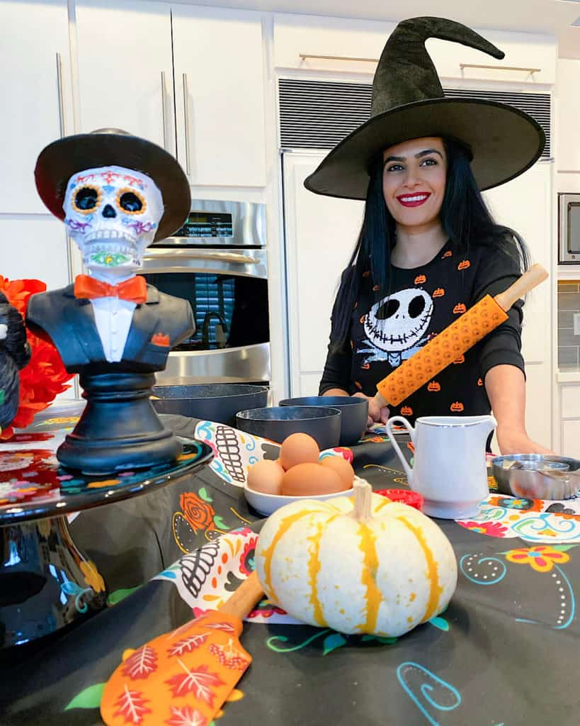 Outfit & kitchen set up for Halloween 2020 Dessert preparation