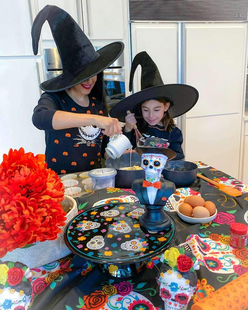 Baking Halloween dessert cupcakes with my daughter in our Halloween themed kitchen