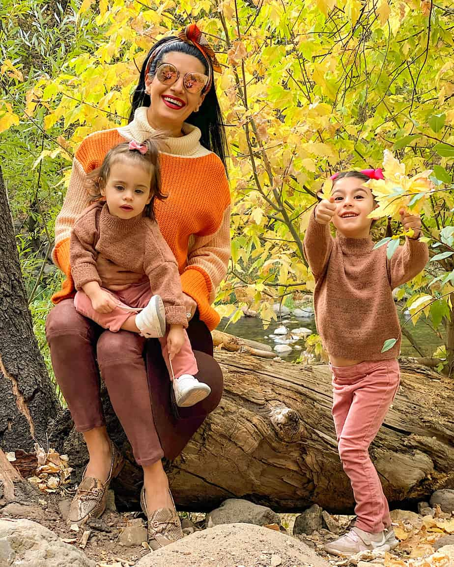 Mom and daughters in Sedona enjoying fall leaves