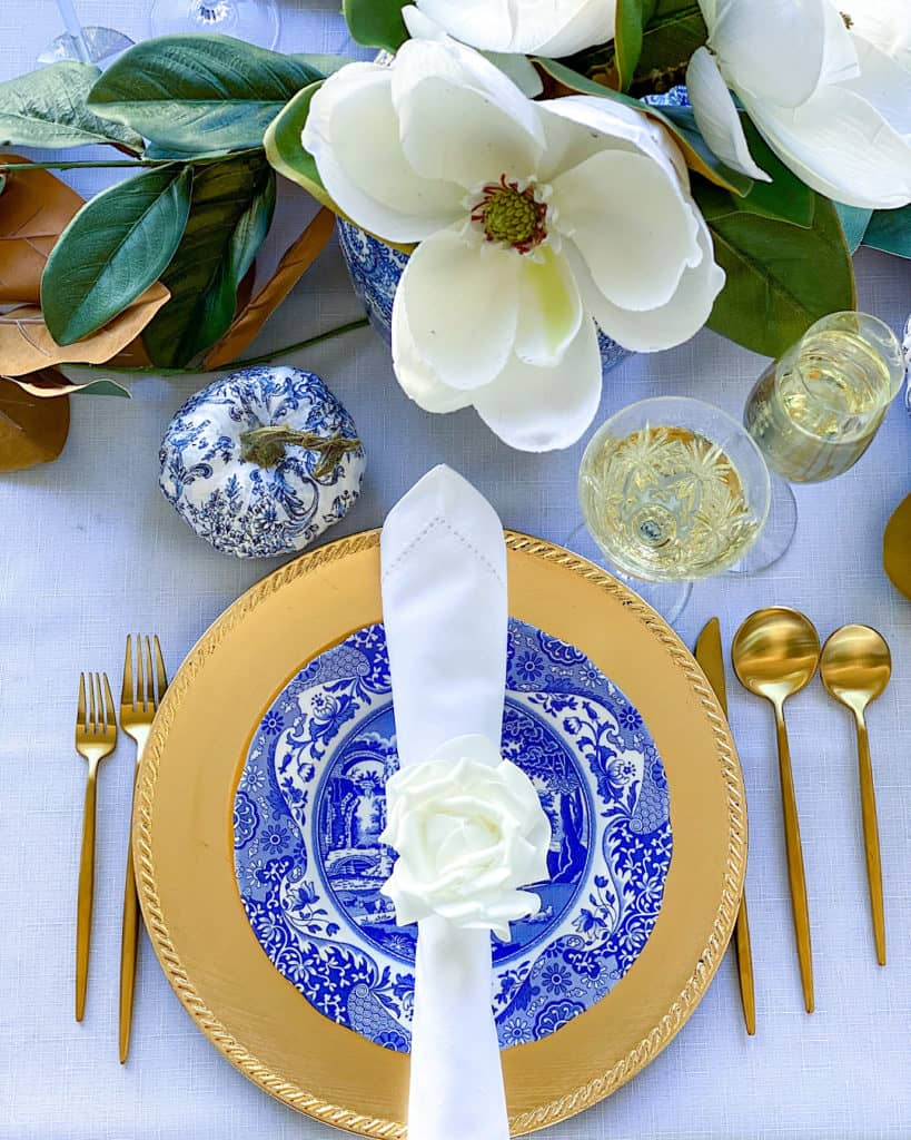 Capri Blue and white Thanksgiving tablescape place setting