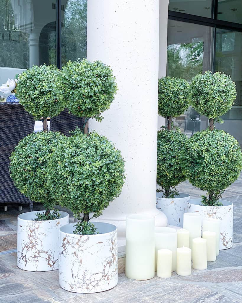 Thanksgiving topiary and candles