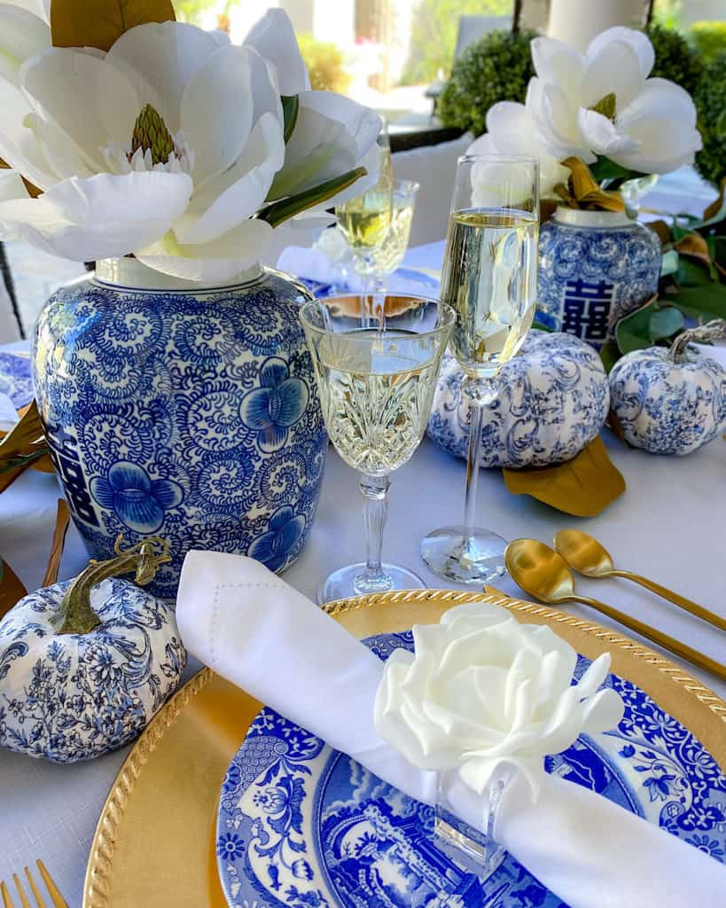 blue and white vases and crystal glasses - Thanksgiving tablescape