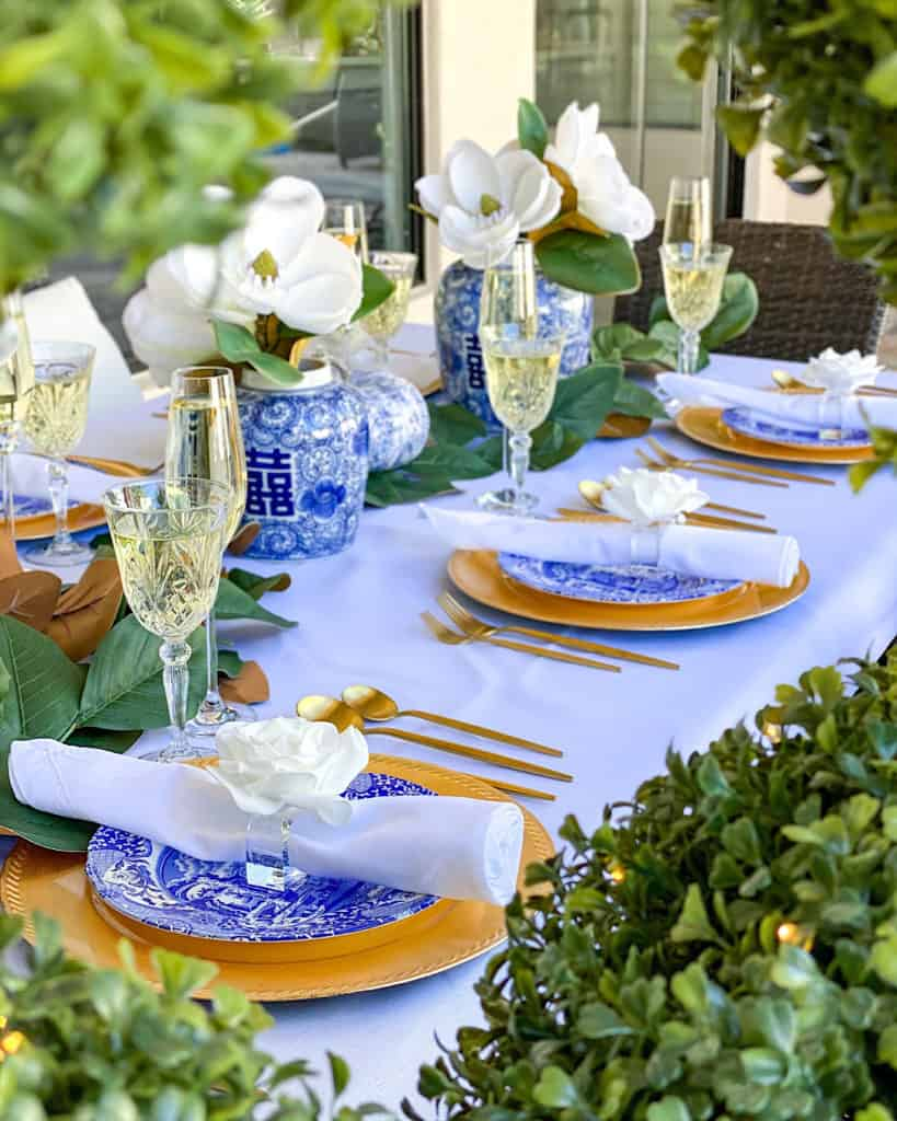 Capri blue and white Thanksgiving Tablescape