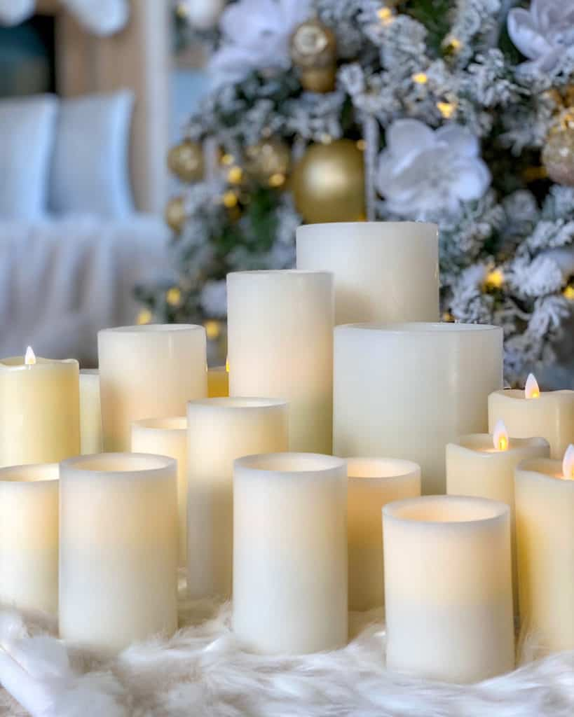 White candles on table