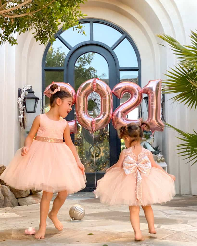 Two girls playing. New Year's Goals- 2021