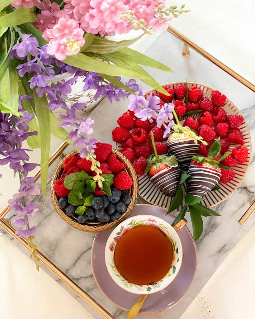 Afternoon Tea serveware with flowers and bright fruits