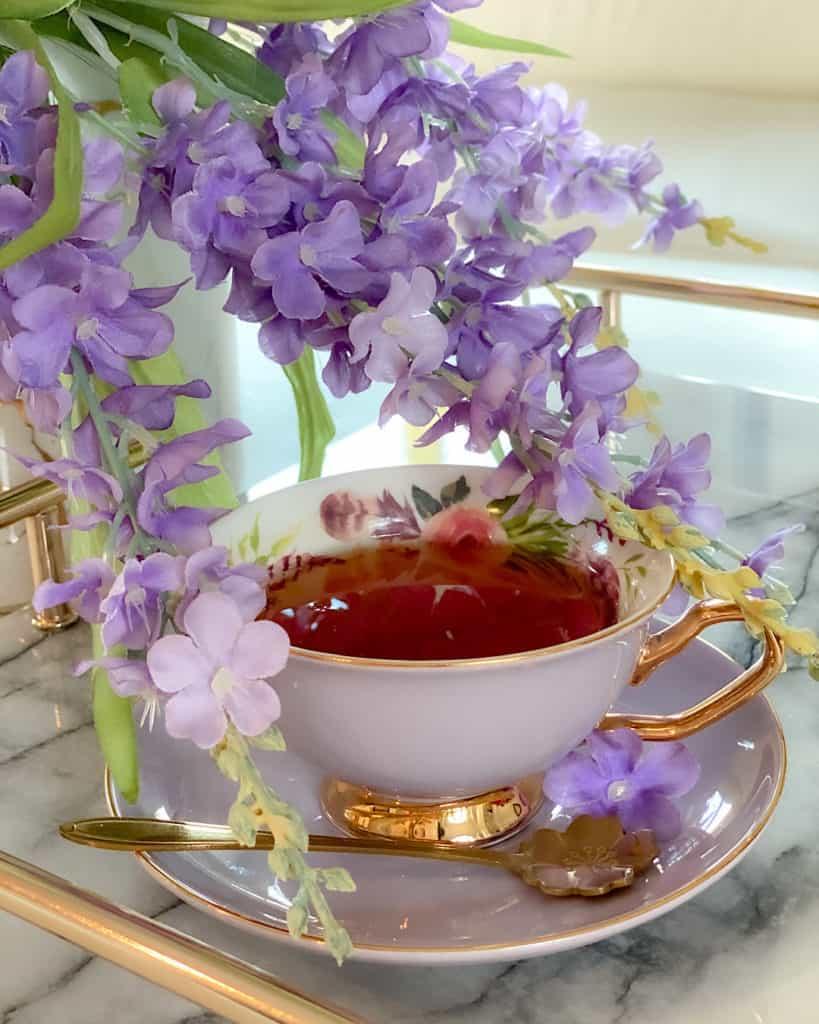 Afternoon tea - teacup with floral display