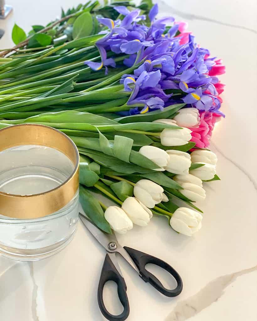 Fresh cut flowers and flower vase