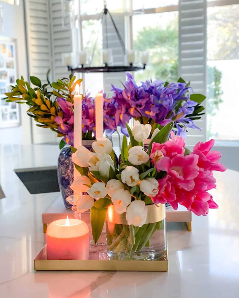 Candles and flower vases.