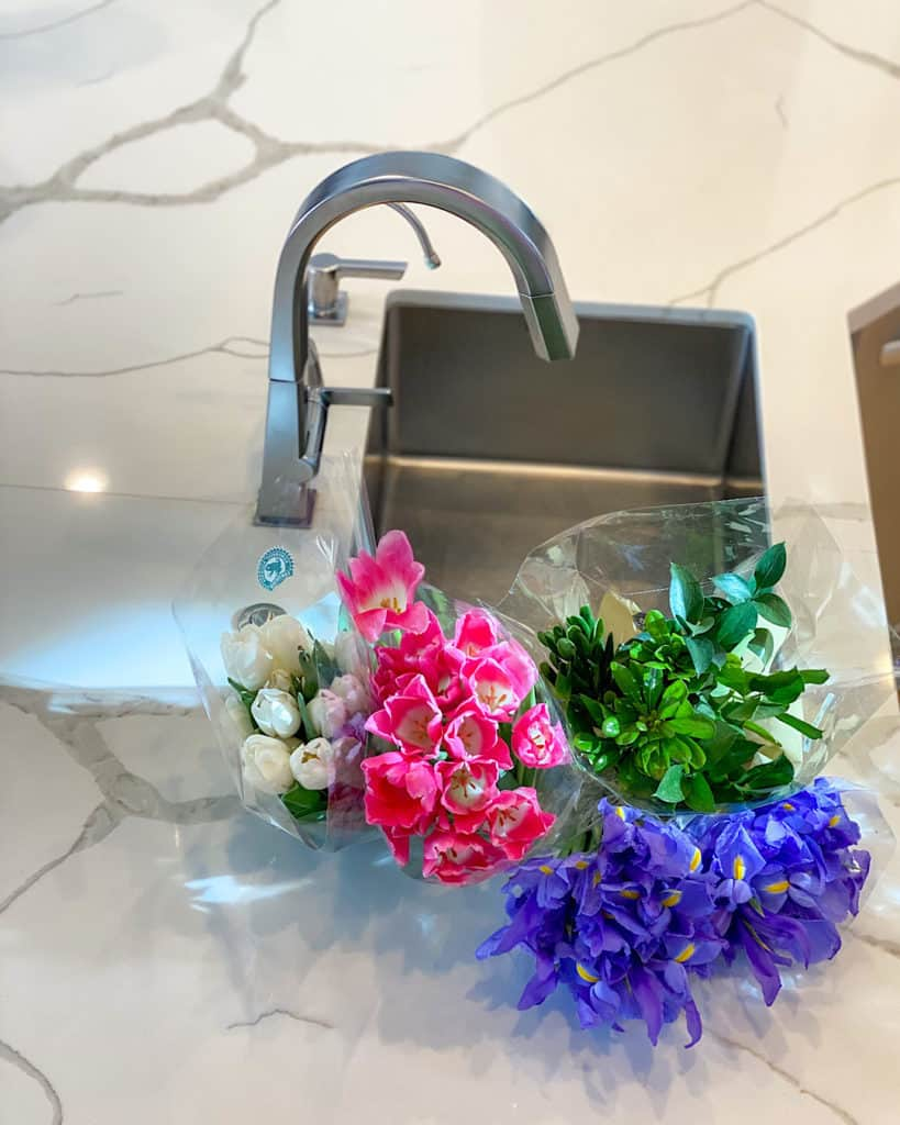 Fresh flowers: Irises and tulips