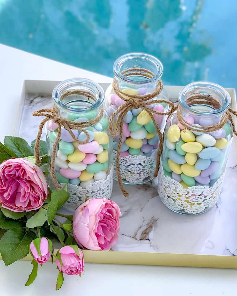Candy jars and flowers - birthday party decor ideas