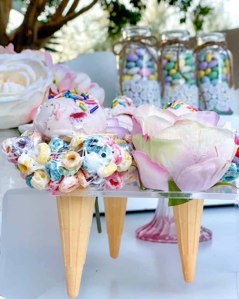 ice cream dessert table at birthday party