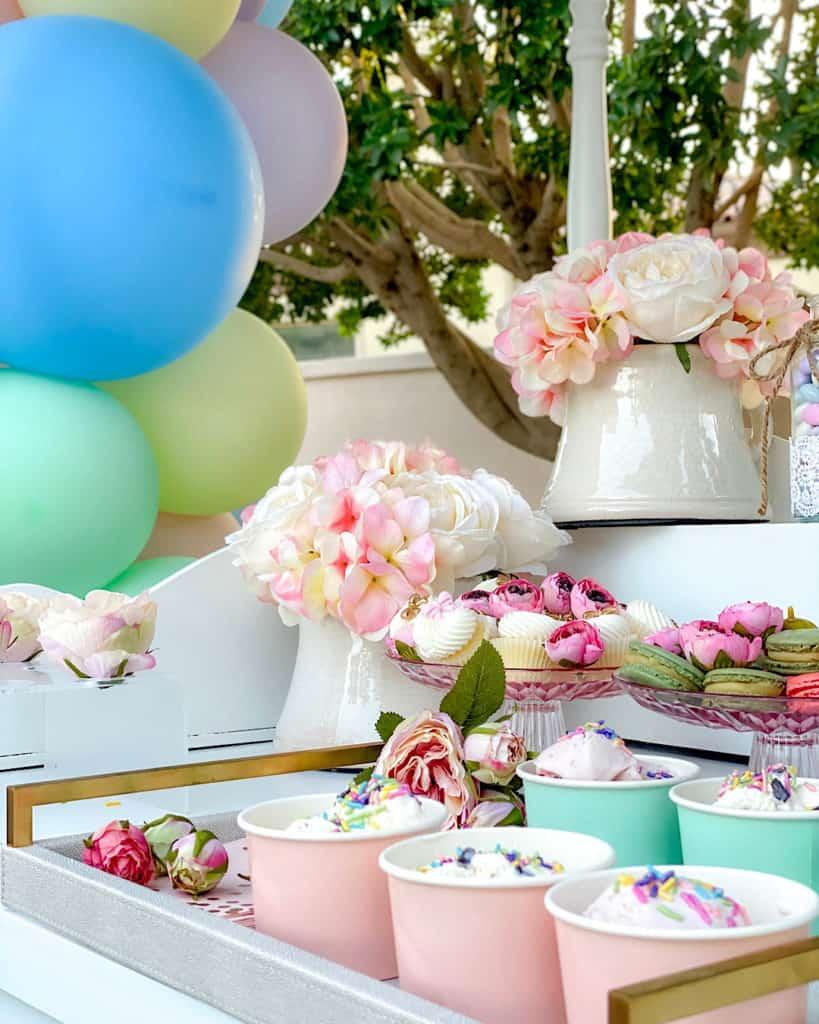 Ice cream birthday party centrepieces
