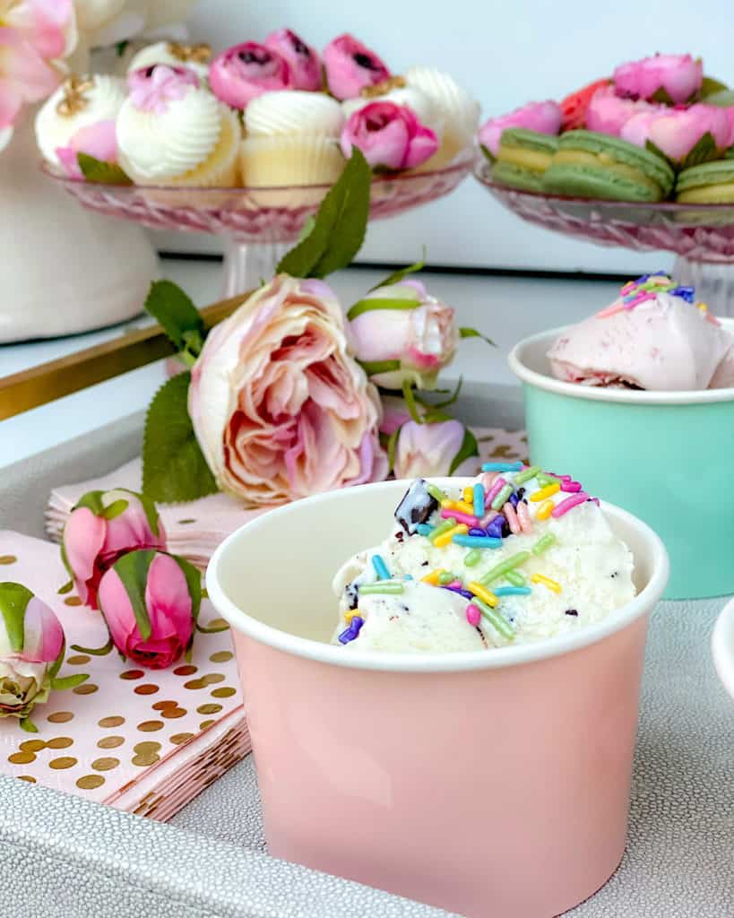 Ice cream in a bowl with colorful toppings