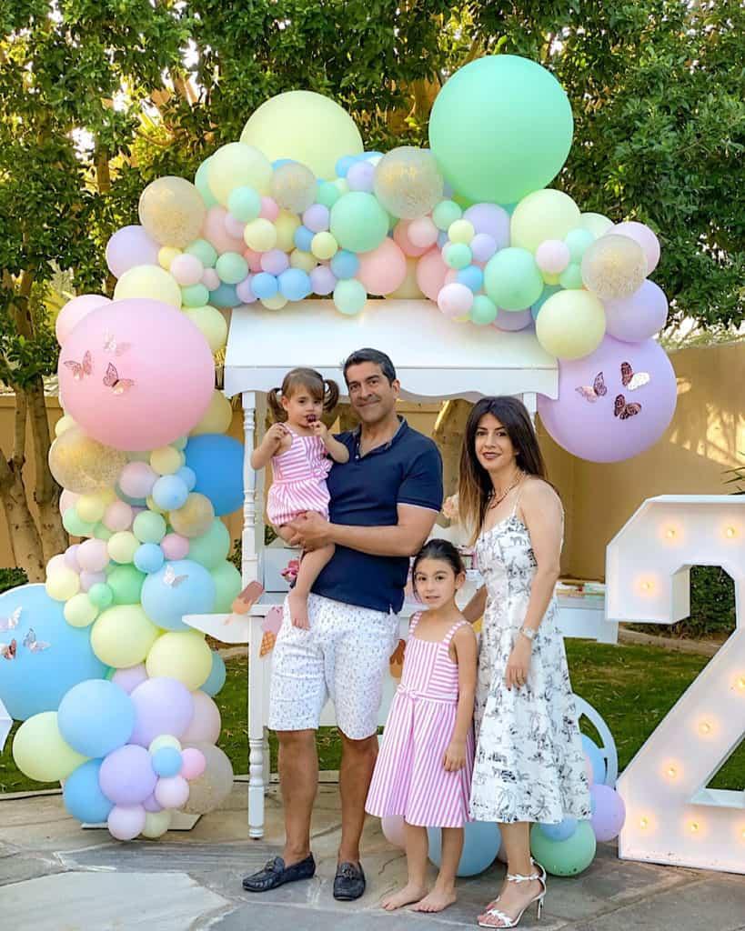 Family at ice cream themed birthday party.