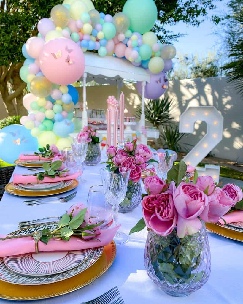 Table settings at ice cream birthday party