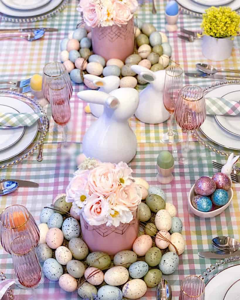 Easter decorations on dining table.