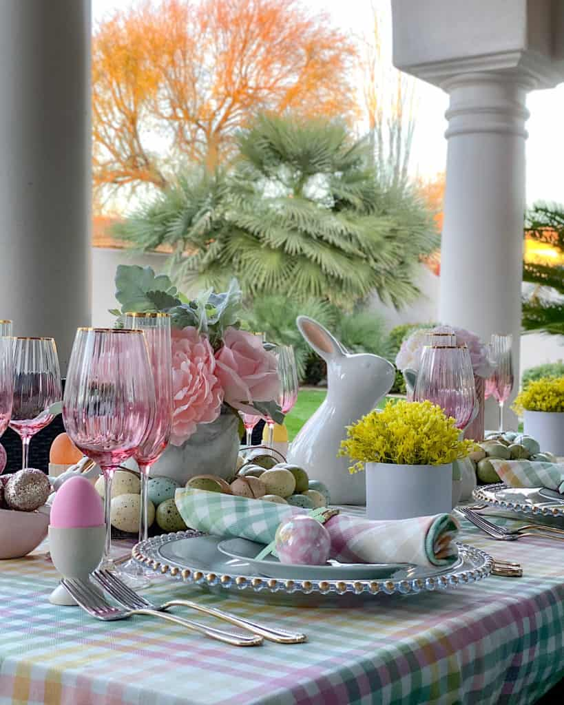 Easter themed table decorations