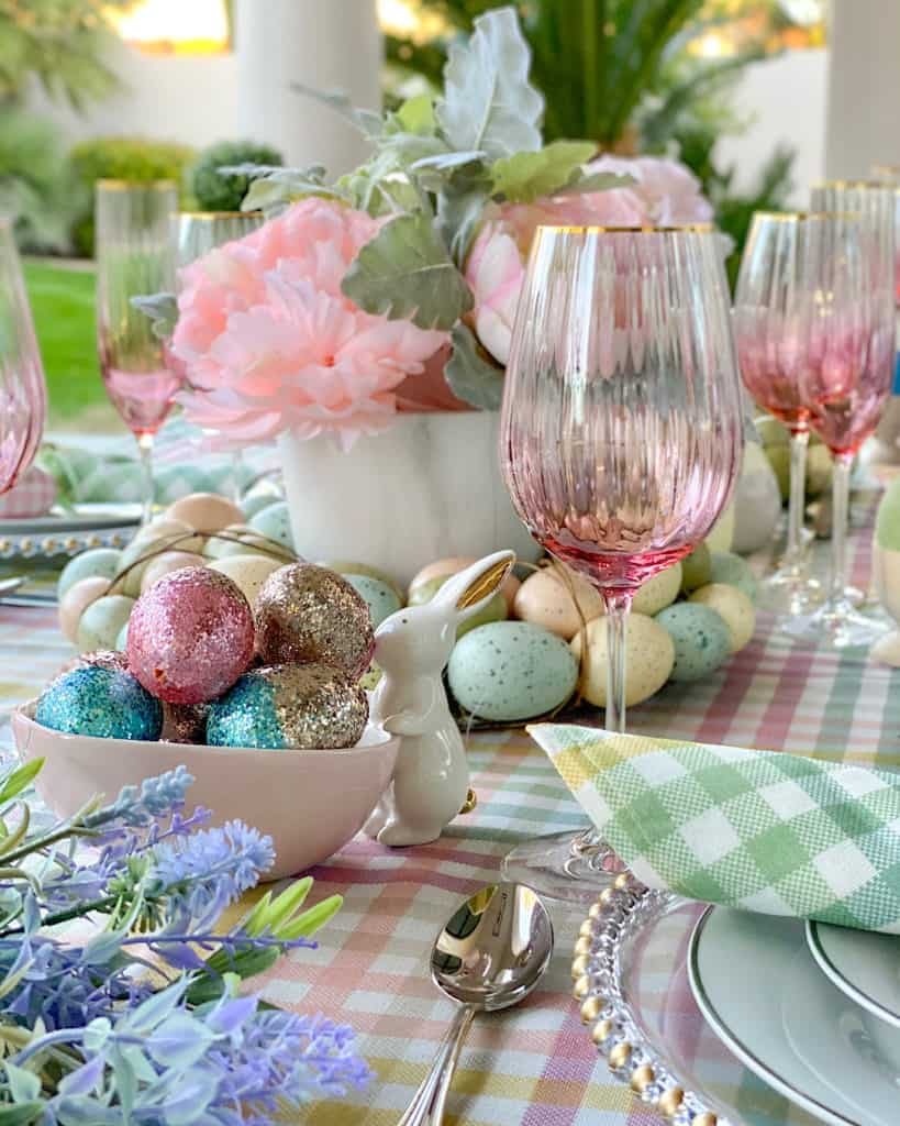 Easter themed table decor.