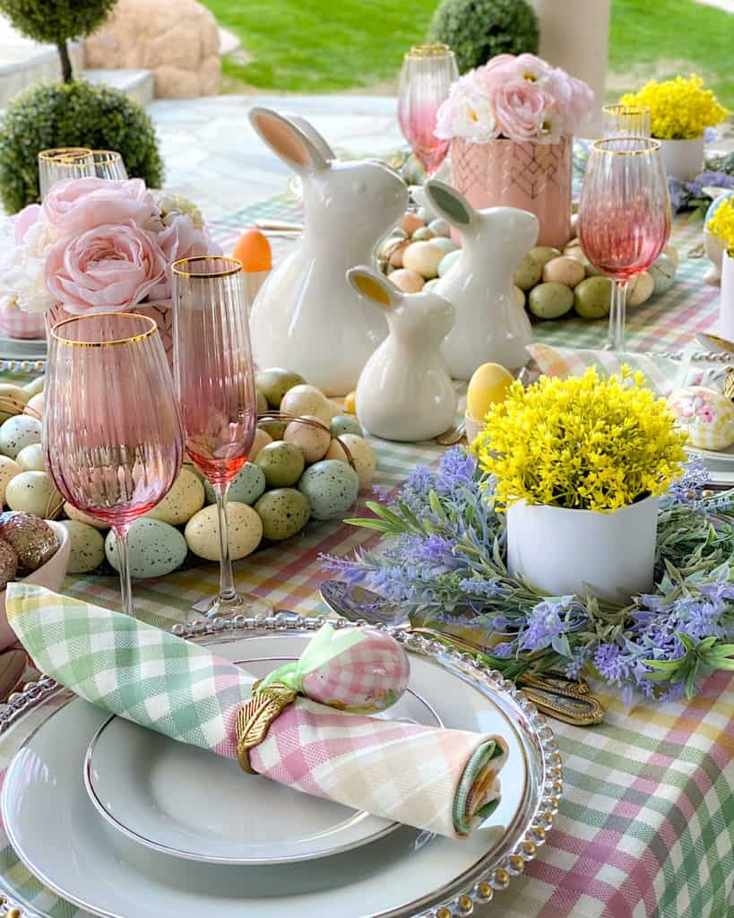 Easter Sunday brunch dining table decorations.