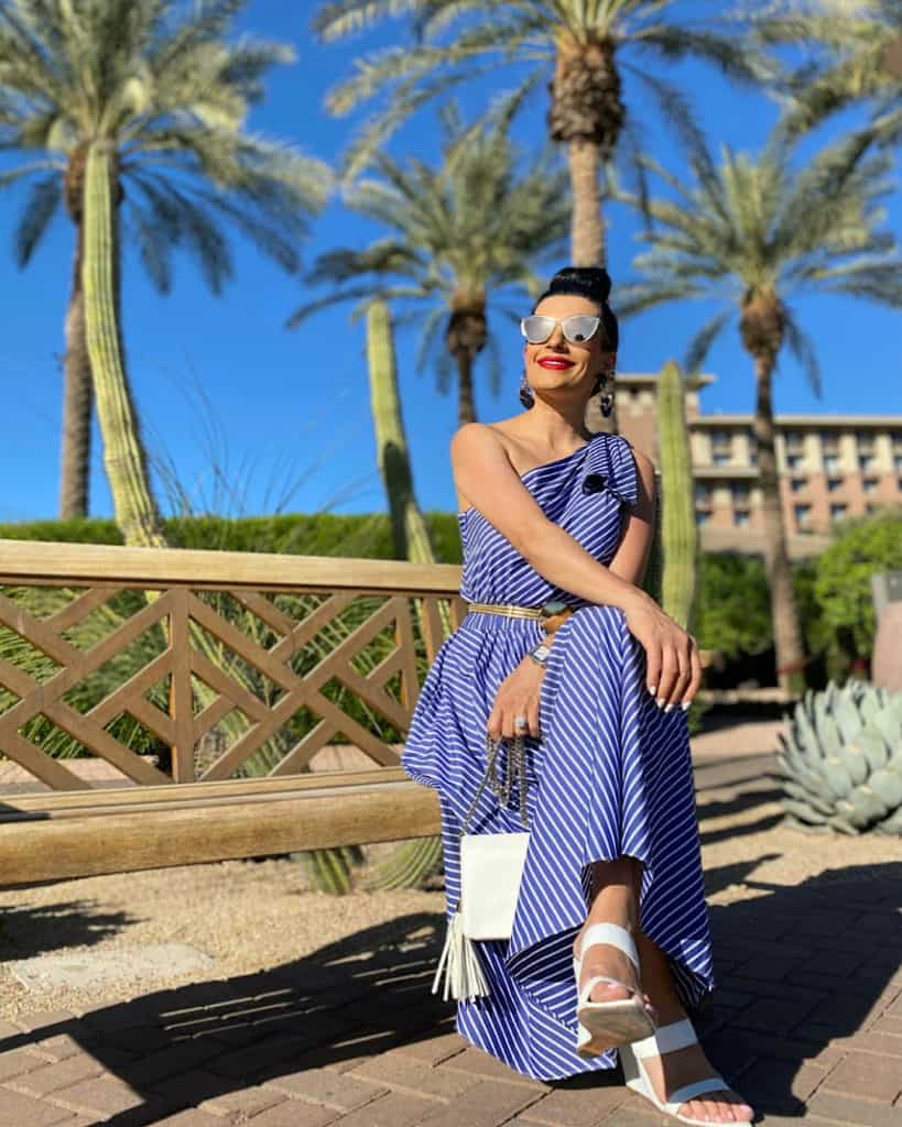 Wear a midi dress with wedges in spring/summer