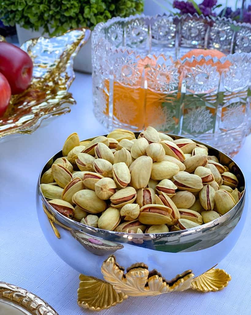 Bowl of pistachios on Nowruz table