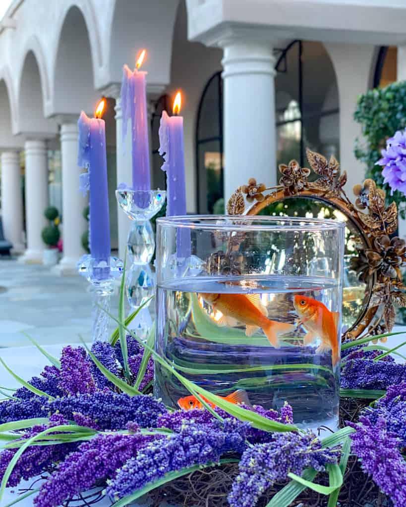 Lit candles Nowruz table decorations
