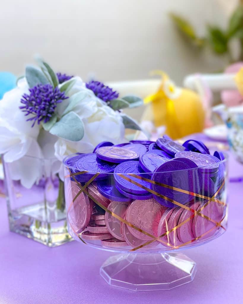 Purple and pink foil wrapped chocolate coins