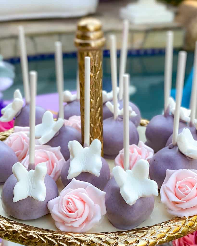 lavender and rose cake pops