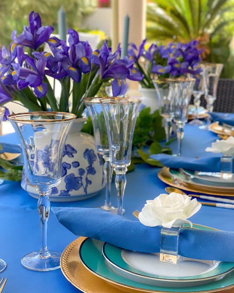 Table decorations for a garden tea party